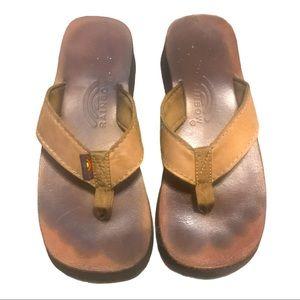 Rainbow flip flops women's brown Sz 9